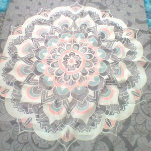 teal pink and grey tapestry